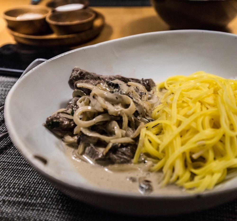 Boeuf Stroganoff with noodles